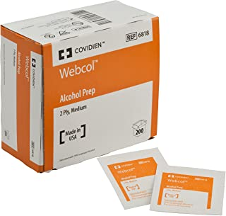 Covidien 6818 Webcol Alcohol Prep, Sterile, Medium, 2-Ply (Pack of 200)