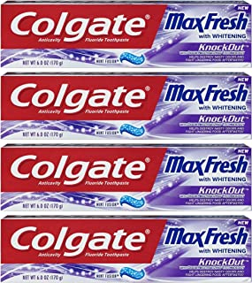 Colgate Max Fresh Toothpaste - KnockOut - With Odor Neutralizing Technology - Net Wt. 6 OZ (170 g) Per Tube - Pack of 4 Tubes