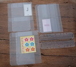 Funcoo 6-Ring Plastic Binder Pockets/Bill Pouch/Name Card Credit Card Holder Bag, Set of 6 Binder Planner Notebook Refills Pockets+ 2 Plastic Page Marker Measuring Ruler (A5)