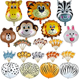 Jungle Safari Zoo Animals Foil Latex Balloons Birthday Party Supplies Decorations Lion Tiger Monkey Zebra Giraffe Cupcake Toppers 42 Pcs