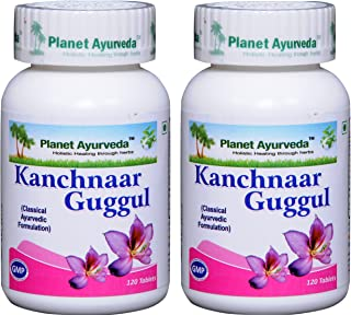 Planet Ayurveda Kanchnaar Guggul - Herbal Tablets, 100% Natural - 2 Bottles (Each Bottle Contains 120 Tablets)