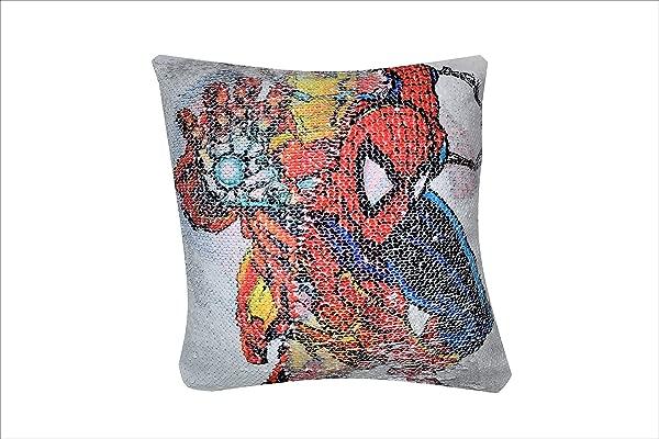 Razteca Goods Comic Book Sequin Pillow Case Superhero Toy Pillowcase Cover Plush Pillow Cover Kids All Ages 16 X 16