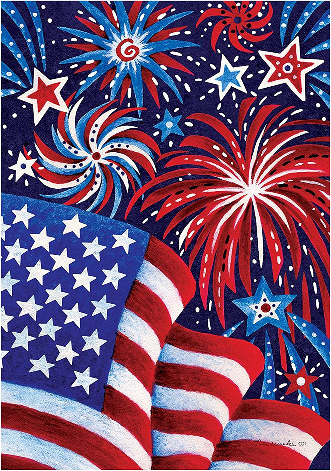 Custom Decor Fireworks and Flag USA - Garden Size, Decorative Double Sided, Licensed and Copyrighted Flag - Printed in The USA Inc. - 12 Inch X 18 Inch Approx. Size