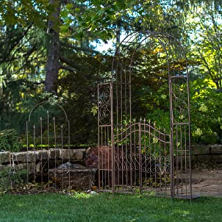 Gated Hodgson Garden Metal Arbor with Matching Trellis