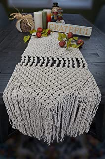 Aura Design's Macrame Table Runner - 96 x 14 Inch Cotton Handwoven Boho Wedding Table Decor Farmhouse and Bohemian Dining Room Kitchen Decor, Dresser Decor