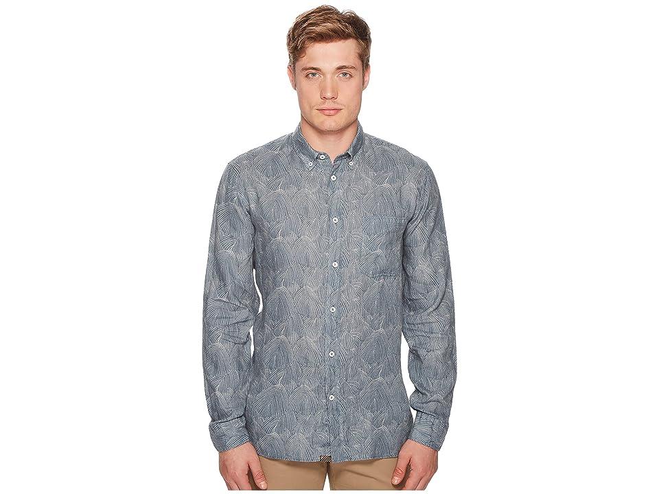 Image of Billy Reid Tuscumbia Print Shirt (Teal) Men's Clothing