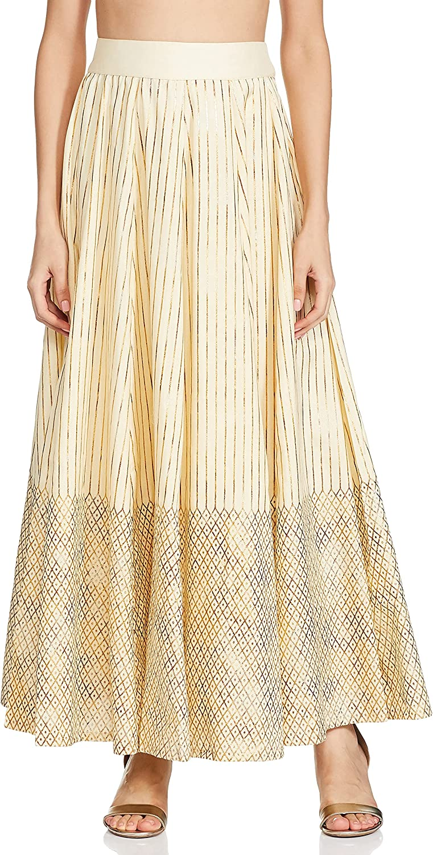Indya Lavender Gold Khadi Maxi Skirt