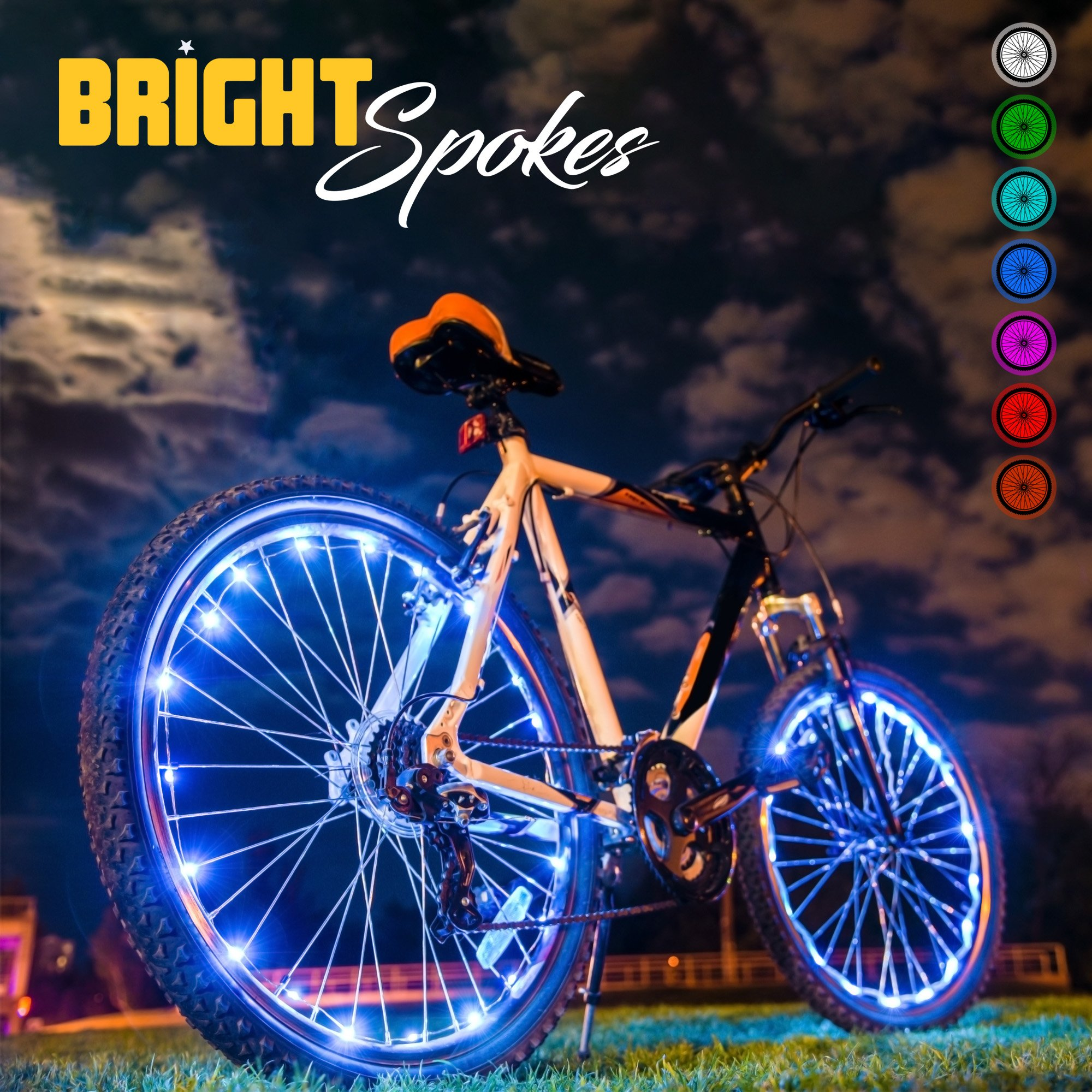 Bright Spokes - Luces LED para rueda de bicicleta, 7 colores en 1 ...