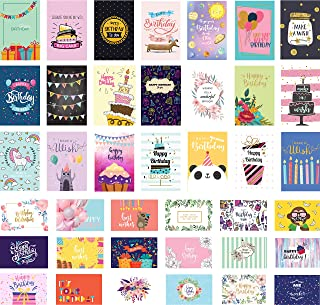 Happy Birthday Cards Premium Assortment | 40 Exquisite Designs, 12 Cards with Gold Embellishments | Beautiful Peel and Stick Embellishments to Personalize the Cards | Perfect Boxed Set