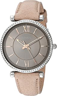 Fossil Women's Carlie Stainless Steel Quartz Watch With Leather Calfskin Strap Silver 16