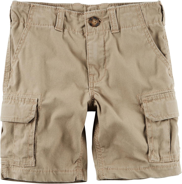 Carters Little Boys Button Closure Cargo Shorts 4 Khaki
