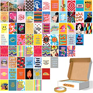Fardes Wall Collage Kit Aesthetic Pictures - 70 Pcs of 4x6 Inches Aesthetic Posters - Colorful Indie Room Decor for Teen G...