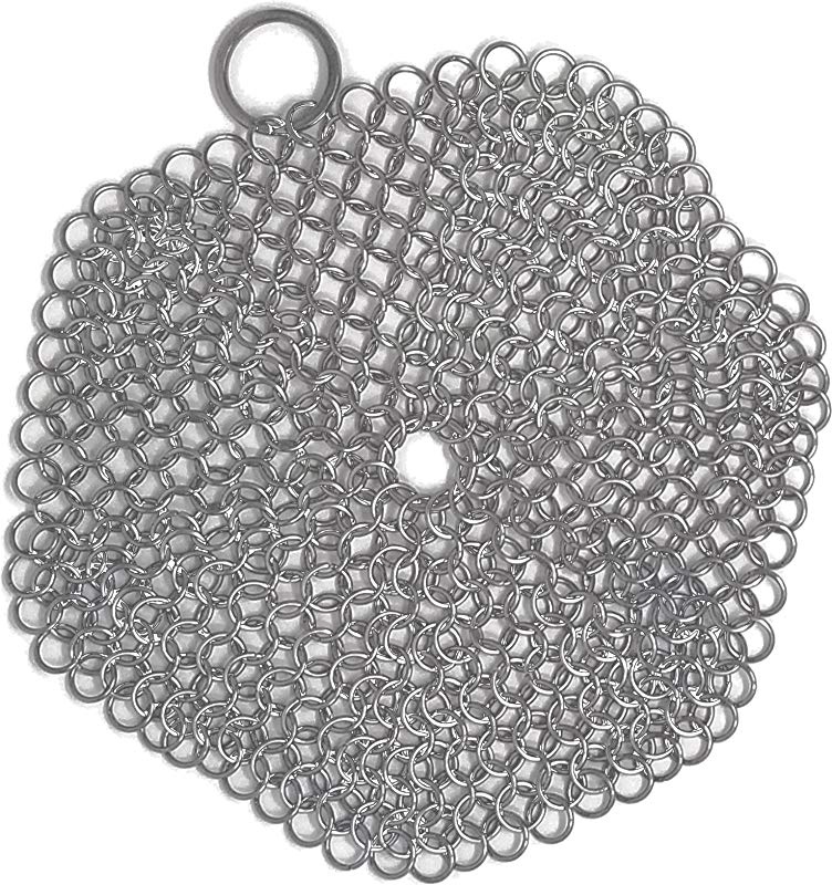 Chainmail Scrubber For Cast Iron Pans Cast Iron Scrubber Perfect For Cleaning This Is A 6 Inch Round Stainless Steel Cast Iron Scrubber Pots Not Included