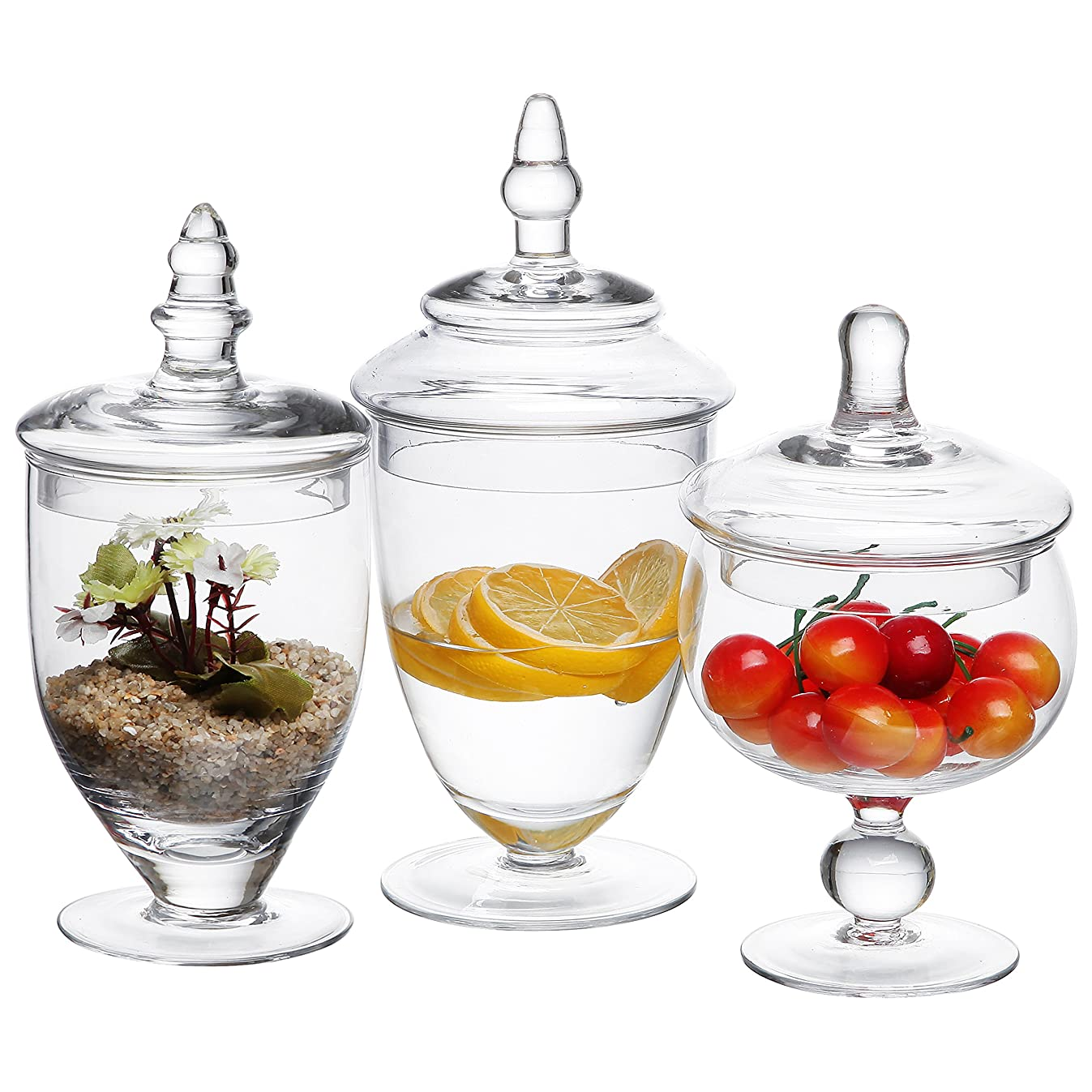 MyGift Small Clear Glass Apothecary Jars, Wedding Centerpiece, Candy Storage Bottles - 3 Piece