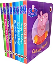Peppa Pig Children's Picture Flat 8 Board Books Collection Set-Dady Pig Gets Fit, Out and About, Happy Holidays, Busy! Busy! Busy!, Wonderful Weather, The Best Pet, Piggy in the Middle, Creepy Cobwebs