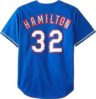قميص بيسبول رجالي من MLB مطبوع عليه Texas Rangers Josh Hamilton Royal Alternate بأكمام قصيرة 6 أزرار صناعية مقلدة (ملكي، ك...