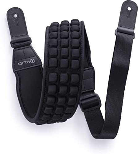 """KLIQ AirCell Guitar Strap for Bass & Electric Guitar with 3"""" Wide Neoprene Pad and Adjustable Length from 117 to 142 CM"""