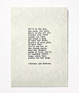 Sympathy Gifts - Loss of Mother Daughter Sister or Grandmother - She's In the Sun Poem Hand Typed by Author