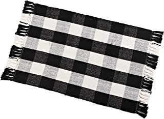Buffalo Check Rug Washable Checkered Cotton Mat Woven Black and White Plaid Striped Area Rug Tassel for Exterior Outdoor Kitchen Living Room Bathroom Decor,23.6