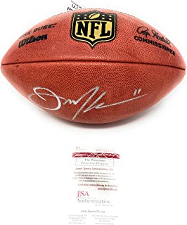 Julian Edelman New England Patriots Signed Autograph Authentic Duke NFL Football JSA Witnessed Certified