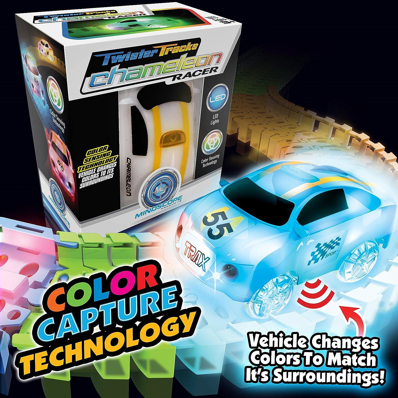 Mindscope Twister Tracks Chameleon color Capture (color Sensing Detecting) Racer with 12' Feet of Flexible Standard color Track