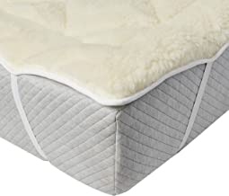 Perfect Fit   Cool Wool Extra Plush Down Alternative Reversible Mattress Pad / Topper, Hypoallergenic, Washable Wool (Queen)