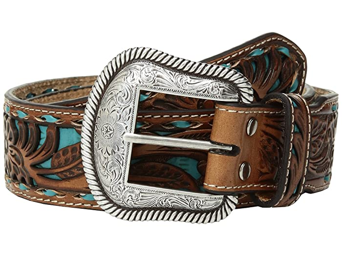 M&F Western Floral Pierced Embossed with Buckstitch Belt (Brown/Turquoise) Men