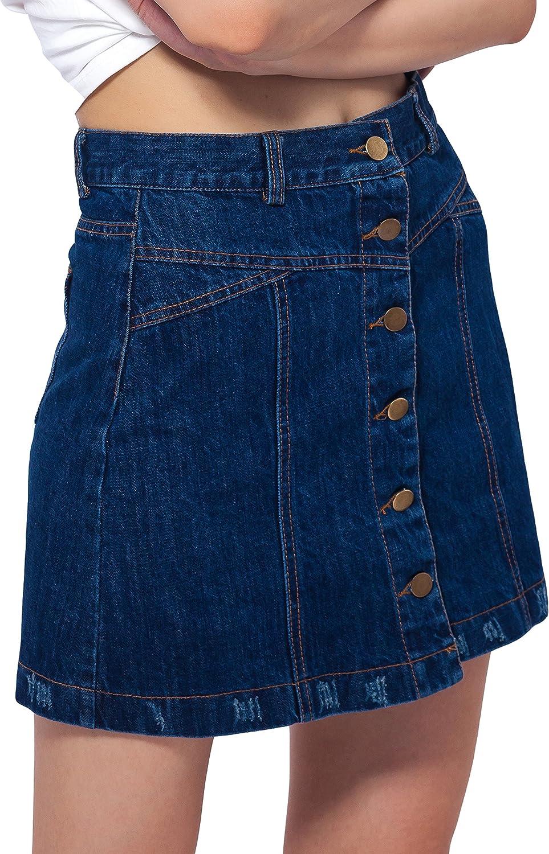 ARACK Women Front Button Closure Denim A Line Short Skirt with Back Pockets