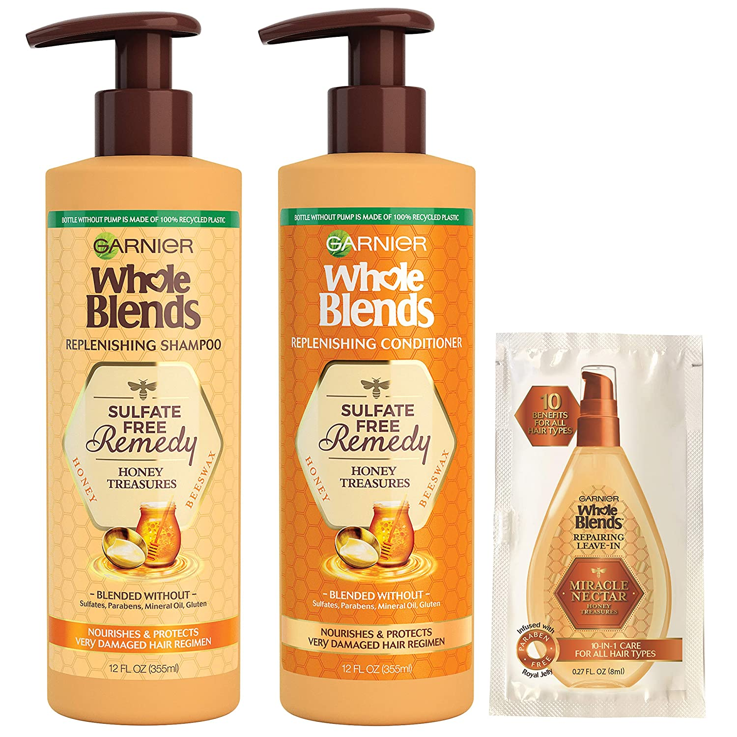 Garnier Haircare Whole Blends Sulfate Free Remedy Honey Treasures Replenishing Shampoo and Conditioner, Nourishes and Protects Very Damaged Hair, with Mask Sample (Package May Vary),, 12 Fl Oz