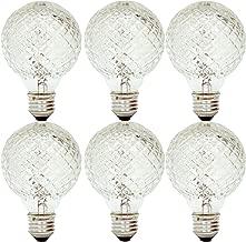 GE Lighting 16774 40-Watt Halogen Faceted G25 Vanity Light Bulb, 6-Pack