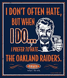 Smack Apparel Denver Football Fans. I Prefer to Hate The Oakland Raiders Navy 12'' X 14'' Metal Man Cave Sign