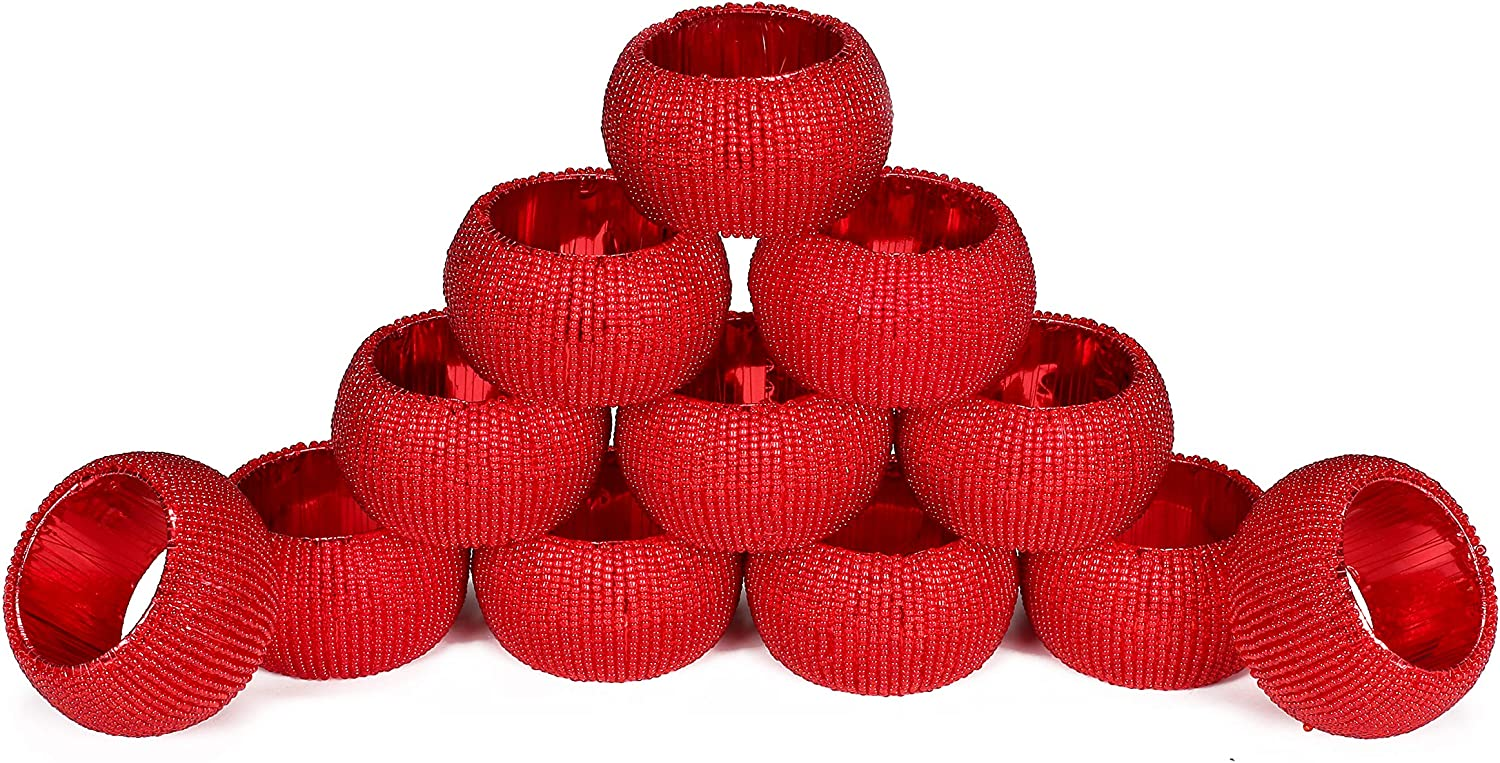 Handmade Round Sales for sale Beaded Napkin Rings Eve Max 90% OFF for Table Parties Dinning