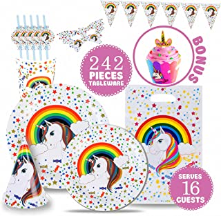 ATOMFIT FULL UNICORN BIRTHDAY PARTY SUPPLY SET, 242 PIECE Servers 16 GUESTS, UNICORN Themed Party Favors including Banner + Tableware + Eye Masks + Gift Bags + Cupcake Wrappers and Toppers + Invitations + Hats + Gift bags + Blowouts | Best Value Unicorn Decorations Set That Give to Make a Long Lasting Magical Memorable Party