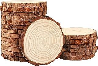 Kurtzy Disques de Bois Brut Naturel (20 Pcs) - Tranche de Bois Diamètre 10-11 cm Épaisseur 10 mm, Rondin de Bois Non Fini ...