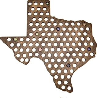 Giant Texas Beer Cap Map - Holds Craft Beer Bottle Caps (Dark Stain)