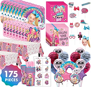 JoJo Siwa Mega Ultimate Party Kit for 16 Guests, 175 Pieces, Includes Tableware, Balloons, Favor Cups, and Party Favors