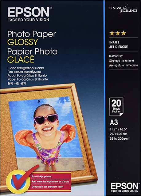 Epson Photo Paper Glossy A3 - Papel fotográfico 20 hojas