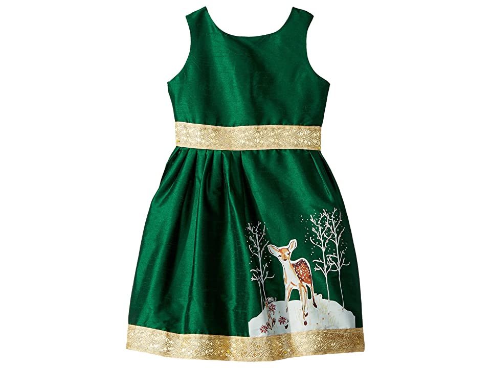 fiveloaves twofish Fawn of Winter Dress (Toddler/Little Kids/Big Kids) (Dark Green) Girl