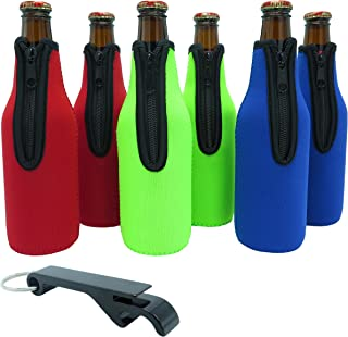 Lazy Dog Warehouse Beer Bottle Sleeves - Set of 6 - Extra Thick Neoprene with Stitched Fabric Edges with Bonus Bottle Opener (Classic)