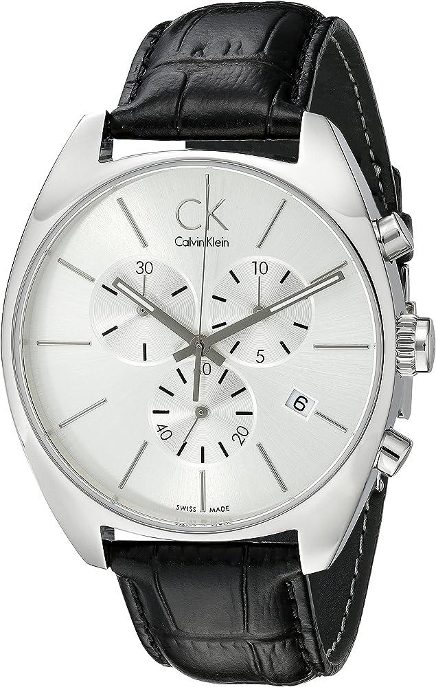 Calvin klein,orologio cronografo per uomo,cassa in acciaio inossidabile e cinturino in pelle K2F27120