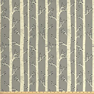 Ambesonne Grey Fabric by The Yard, Birch Tree Branches Vintage Bohemian Contemporary Illustration of Nature, Decorative Fabric for Upholstery and Home Accents, 1 Yard, Warm Taupe