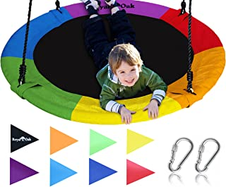 "Royal Oak Giant 40"" Saucer Tree Swing with Bonus Carabiners and Flags, 700 lb Weight Capacity, Steel Frame, Waterproof, Easy to Install with Step by Step Instructions, Non-Stop Fun! (Rainbow)"