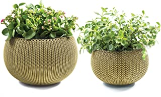 Keter Cozies Plastic Planters Set of 2, Knit Texture, Small & Medium Pots with Removable Liners, Citrus Green