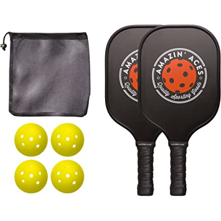 Amazin' Aces Pickleball Paddle Set   Pickleball Set Includes Two Graphite Pickleball Paddles + Four Balls + One Mesh Carry Bag   Premium Rackets Graphite Face & Polymer Honeycomb Core