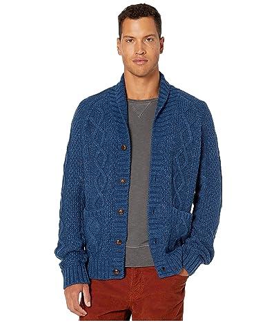 J.Crew Rugged Cotton Cable-Knit Shawl-Collar Cardigan Sweater (Heather Nightfall) Men