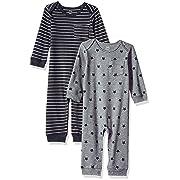 Amazon Essentials Baby 2-Pack Coverall, Uni Star Stripe Neutral, 6-9M