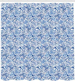 """Ambesonne Paisley Shower Curtain, Native Pattern in Blue Tones Nature Themed Print, Cloth Fabric Bathroom Decor Set with Hooks, 84"""" Extra Long, Blue"""