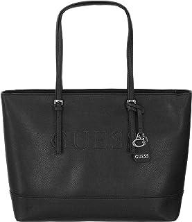 e91adfe90667 New Guess Logo Purse Satchel Hand Bag Peak Large Tote Black Silver Charms