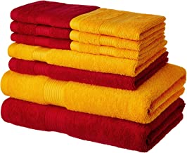 Amazon Brand - Solimo 100% Cotton 10 Piece Towel Set, 500 GSM (Spanish Red and Sunshine Yellow)