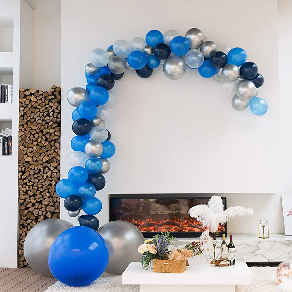 XmasExp 16FT Party Balloon Arch & Garland Kit - 97 Pieces Diamond Blue & Pearl White Jumbo Size Latex Balloons with Accessories